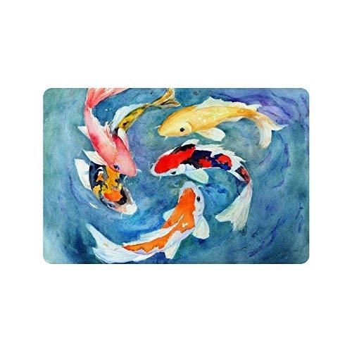 Watercolor Oriental Colorful Koi Goldfish Doormat Non-Slip Indoor and Outdoor Door Mat Rug Home Decor Entrance Rug Floor Mats Rubber Backing 16X24