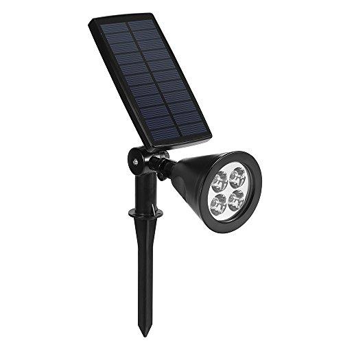 Dostyle Solar Spotlights Bigger Solar Panels 2-in-1 350&deg Adjustable 4 Led Lights Outdoor Waterproof Landscape