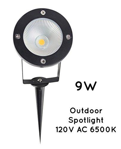 JLUMI LED Landscape Spotlight 9W 120V AC Metal Ground Stake Outdoor Garden Spotlight Flag Light Cool White 6400K Not Dimmable Hard Wiring No Power Plug