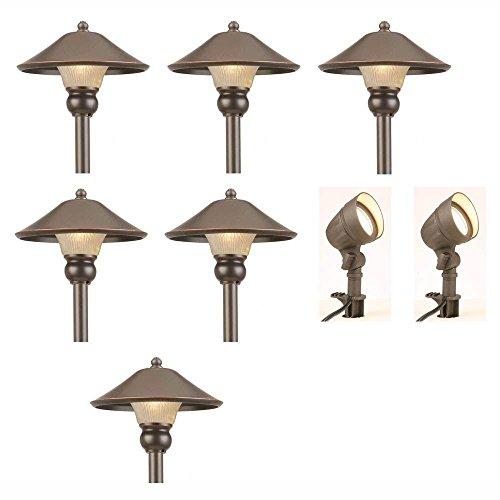 Low-Voltage LED Bronze Outdoor Light Kit 8-Pack