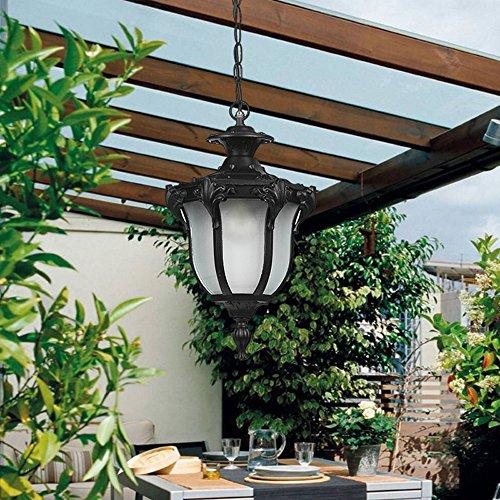 XAJGW Retro Outdoor Pendant LightingIP65 Waterproof E2627 Creek Black Hanging Landscape FixturesAluminum Glass Porch Adjustable Lantern for GardenFence Color  Black