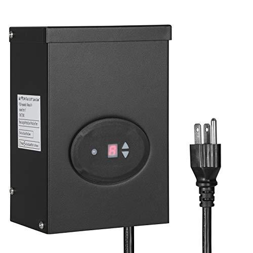 DEWENWILS 200W Outdoor Low Voltage Transformer with Timer and Photocell Sensor 120V AC to 12V AC Weatherproof for Halogen LED Landscape Lighting Spotlight Pathway Light ETL Listed