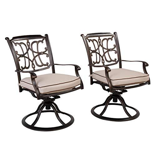 CW Chair Cast Aluminum Dining Cushion Rust-Free Outdoor Swivel Rocker Lawn Garden Backyard Chairs Furniture Set of 2 Brown