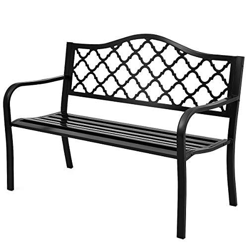 Giantex 50 Patio Garden Bench Loveseats Park Yard Furniture Decor Cast Iron Frame Black Black Style 1