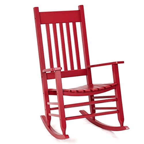 Red Rocking Chair Rocker Comfortable Armrest Backrest Glider Porch Seat Ergonomically Designed Solid Wood Construction Indoor Outdoor Use Home Living Room Bedroom Patio Deck Backyard Balcony Furniture