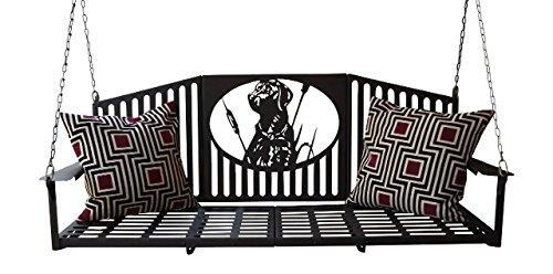 Mad Metal Works Bird Dog 5ft Metal Porch Swing Black Wrinkle
