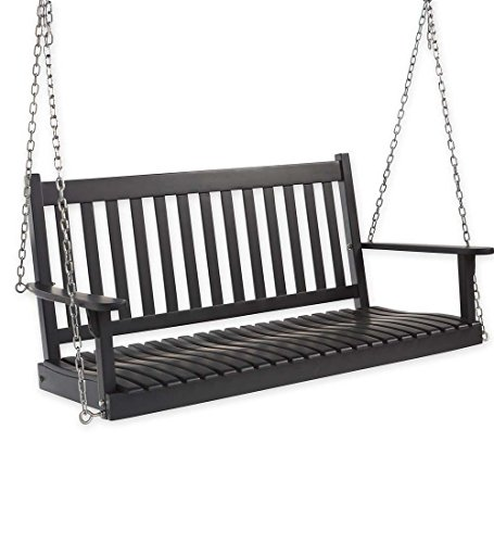 Slatted Wood Porch Swing In Black Paint