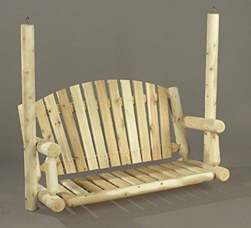 4 Natural Cedar Log-Style Outdoor Wooden Garden Swing Seat