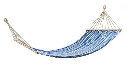 Swan Comfort 200x100 cm 78x40 inc Extra Heavy Duty Cotton Hammock Garden Swing Set indoor Swing Bed Relaxing Swing Sack Solid Wood Spreader Outdoor Blue and Navy Blue