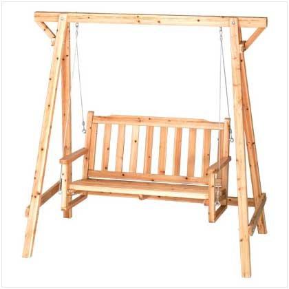 Weatherproof Wood Home Patio Garden Decor Bench Swing