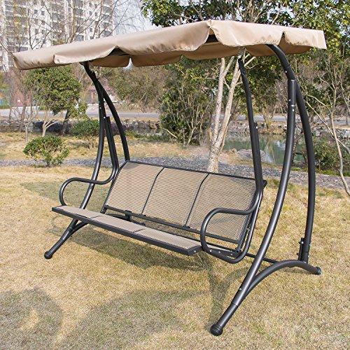 Gracelove Outdoor 3 seat Canopy Swing Chair Patio Backyard Seat Beach Porch Furniture