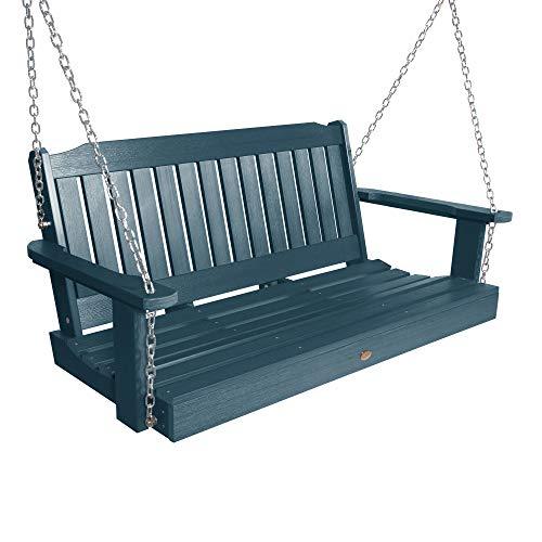 highwood AD-PORL2-NBE Lehigh Porch Swing 4 Feet Nantucket Blue