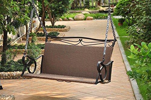 International Caravan Wicker ResinSteel Patio Porch Swing