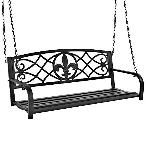 Metal Fleur-De-Lis Hanging Patio Porch Swing - Black Weather Resistant Seats 2 52L x 21W x 19H