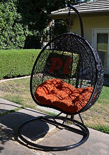 Egg Nest Shaped Wicker Rattan Swing Chair Hanging Hammock 2 Persons Seater - Black  Orange