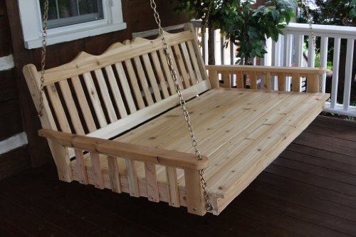 Outdoor 6 Royal English Garden Swing Bed - Oversized Porch Swing - STAINED- Amish Made USA -Redwood