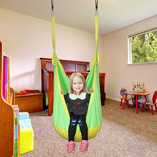 F-TIME Kids Hanging Swing Seat Hammock Pod Childrens Swing Chair Indoor Outdoor With Pure Cotton Meterial