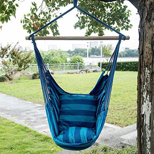 Toucan Outdoor Hammock Chair with Pillow Set Blue Stripe Blue Stripe