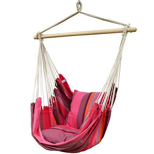 Prime Garden Pink Stripe Soft Comfort Hanging Hammock Chair