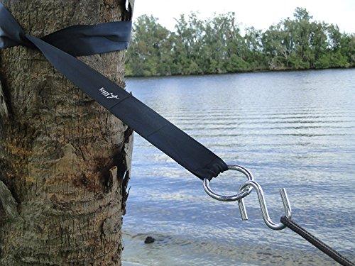 Krazy Outdoors&reg Hammock Tree Straps - 11 Feet Long - Black Heavy Duty Adjustable Polyester Seatbelt Quality -