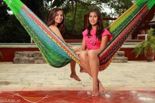 Combo Thick Cord Mayan Hammock Xxl Multicolor In Nylon  Hammock Saver  Hanging Ropes