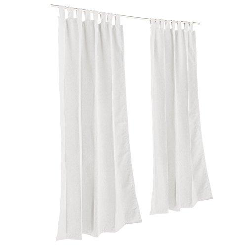 Hatteras Hammocks Pawleys Island Sunbrella Outdoor Gazebo Tabbed Solid Curtain Panel Canvas White 50 x 96