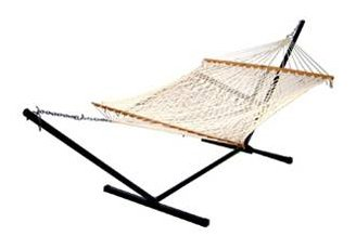 Algoma 2-Point Cotton Rope Hammock with Stand