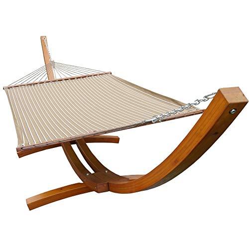 Prime Garden Sunbrella Fabric Hammock14 Feet Wood Arc Hammock Stand