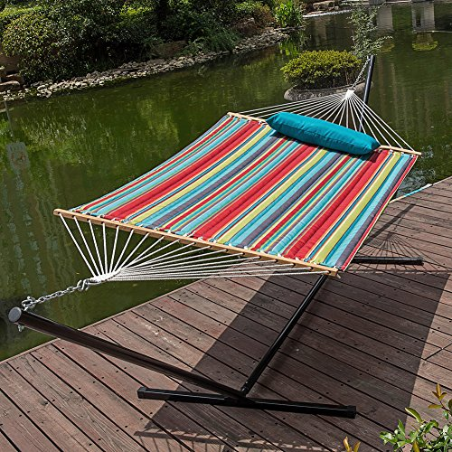 Lazydaze Hammocks&reg 15 Feet Heavy Duty Steel Hammock Stand  Two Person Quilted Fabric Hammock And Pillow Combo