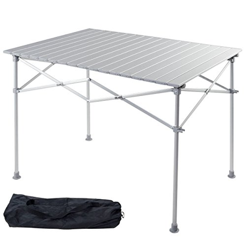 Giantex Portable Aluminum Folding Table Lightweight Outdoor Roll Up Camping Picnic Table with Storage Bag 40 L x 28 W