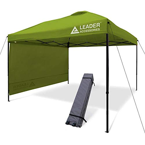 Leader Accessories 10 x 10 Pop Up Canopy Tent Instant Shelter Portable Folding Canopies Straight Leg with 1-Pack Side Wall Wheeled Carry Bag Green