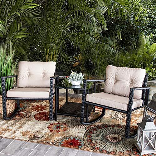Barton Patio Rocking Chair 3pcs Set Patio Wicker Rattan Bistro Furniture Outdoor Rocker Chair Cushion wGlass Coffee Table Set