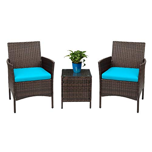 Devoko Patio Porch Furniture Sets 3 Pieces PE Rattan Wicker Chairs with Table Outdoor Garden Furniture Sets BrownBlue