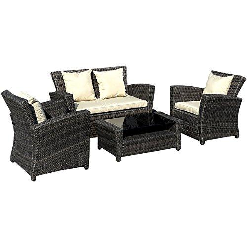 Goplus4 PCS Brown Wicker Cushioned Rattan Patio Set Garden Lawn Sofa Furniture Seat
