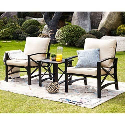 LOKATSE HOME 3 Piece Patio Conversation Set Outdoor Furniture with Coffee Table Chair Khaki