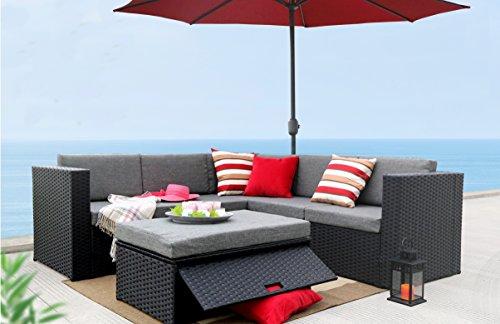 Baner Garden K35 4 Pieces Outdoor Furniture Complete Patio Wicker Rattan Garden Corner Sofa Couch Set Full Black