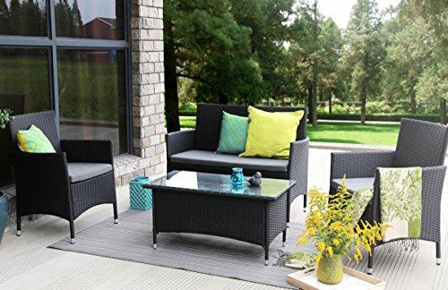 Baner Garden N68 4 Pieces Outdoor Furniture Complete Patio Wicker Rattan Garden Set Full Black