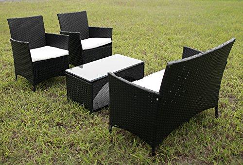 Merax4 Piece Outdoor Patio PE Rattan Wicker Garden Lawn Sofa Seat Patio Rattan Furniture Sets