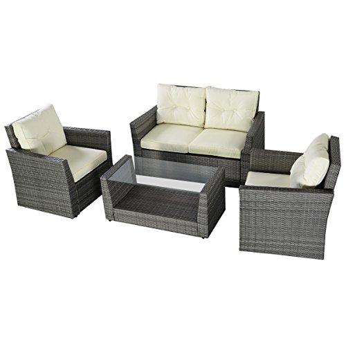 Goplus 4PC Patio Lawn Cushioned Seat Rattan Sofa Furniture Set Gray Wicker