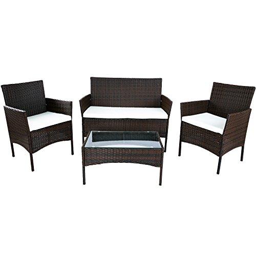Merax 4 PC Outdoor Garden Rattan Patio Furniture Set Cushioned Seat Wicker Sofa Brown