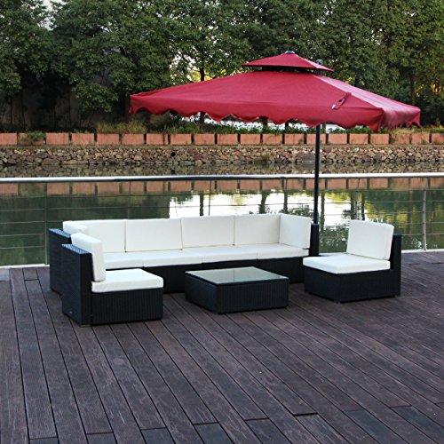 Sumder Patio 7pcs PE Wicker Sofa Ourdoor Sectional Rattan Furniture Set Black