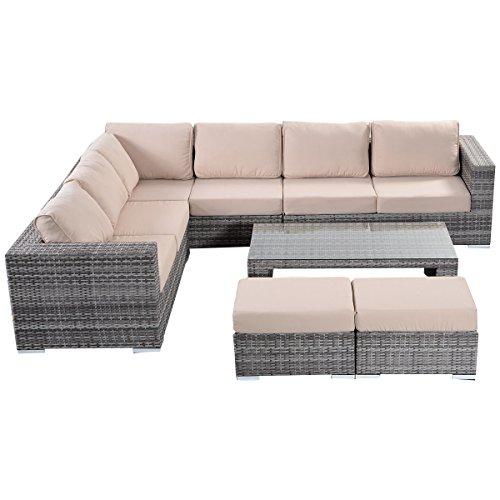 Tangkula 6 Pcs Outdoor Patio Rattan Wicker Furniture Set Not Need Assemble Gray