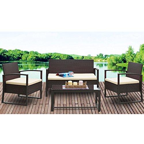 URattan 4PC Wicker Patio Furniture Set Sofa Table Cushioned Lawn Garden Outdoor Brown