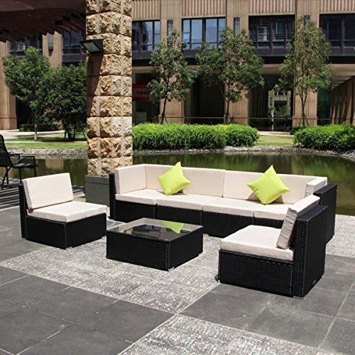 U-max 7 Piece 3-14 Pieces Patio PE Rattan Wicker Sofa Sectional Furniture Set BK-7 Pieces