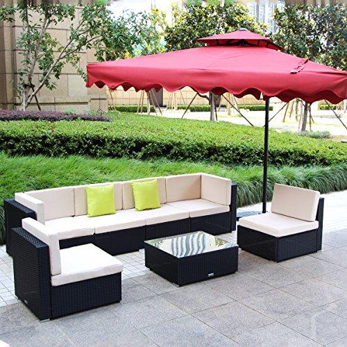 Umax 7 Piece 7-12 Pieces Patio PE Rattan Wicker Sofa Sectional Furniture Set 7 Pieces Black