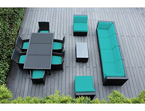Genuine Ohana Outdoor Sectional Sofa and Dining Wicker Patio Furniture Set 14 pc set with Free Patio Cover Sunbrella Aruba