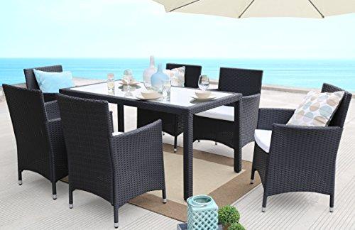 Baner Garden 7 Pieces Outdoor Furniture Complete Patio PE Wicker Rattan Garden Dining Set Full Black