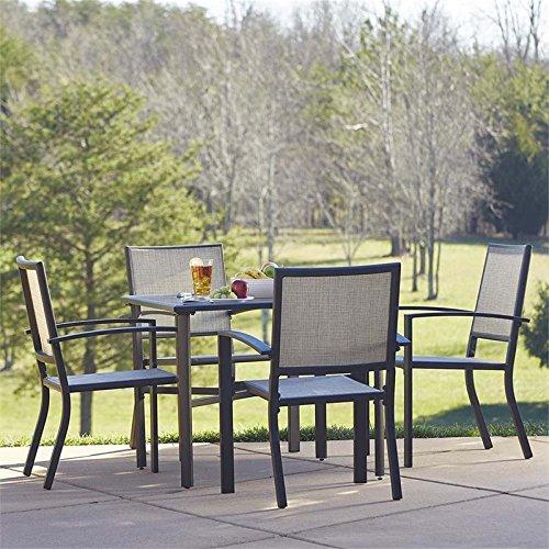 Cosco Outdoor 5 Piece Serene Ridge Aluminum Patio Dining Set Dark Brown