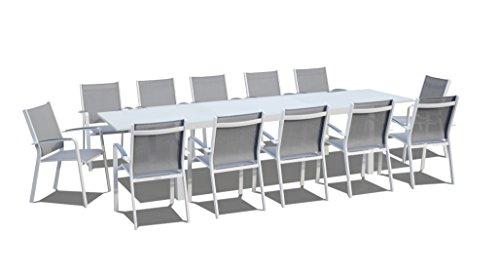 Urbanfurnishingnet - 13 Piece Extendable Modern Outdoor Patio Dining Set - White  White