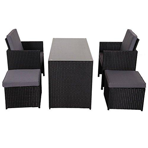 Sundale Outdoor 5-piece Outdoor Cube Rattan Garden Furniture Set Wicker Rattan Dining Set with DeskChairs&Ottoman